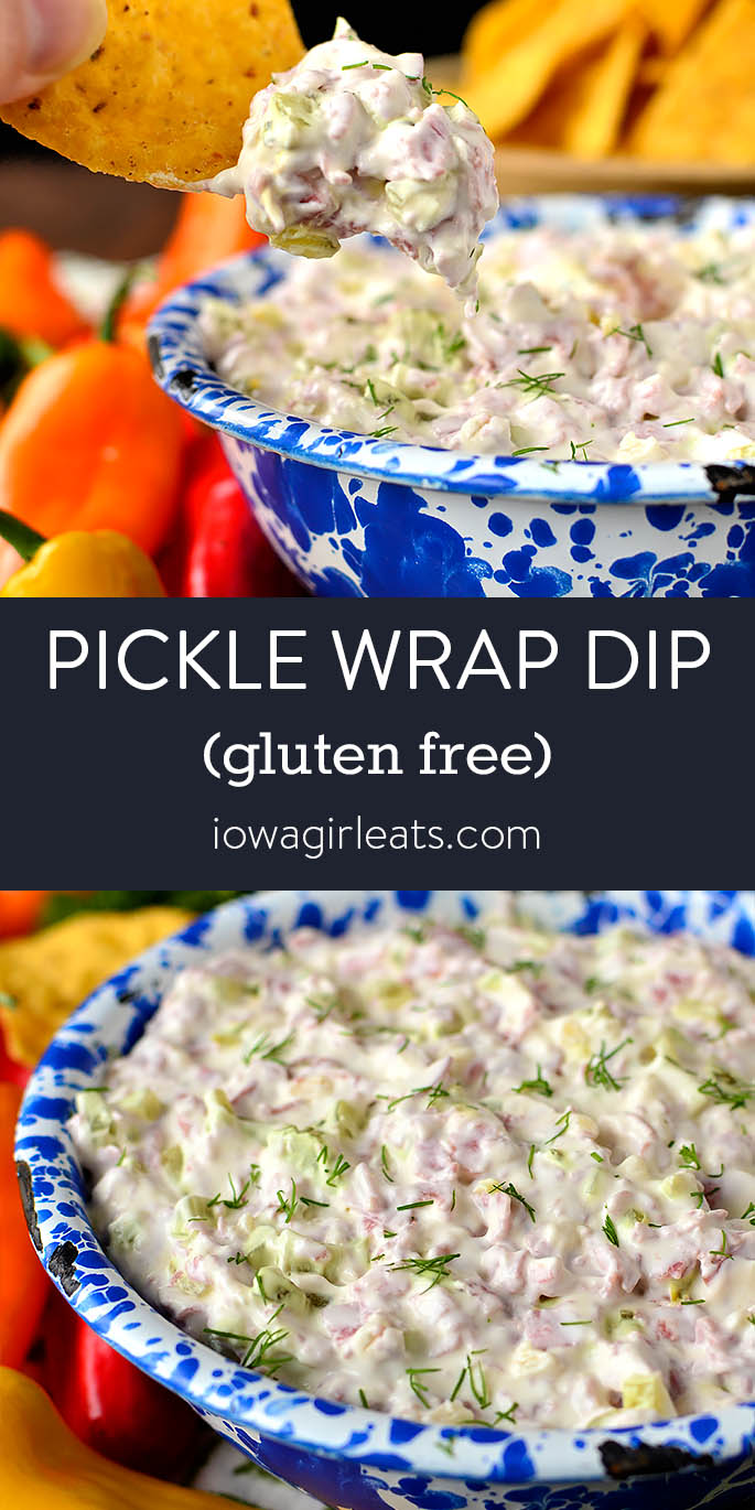 Photo collage of pickle wrap dip