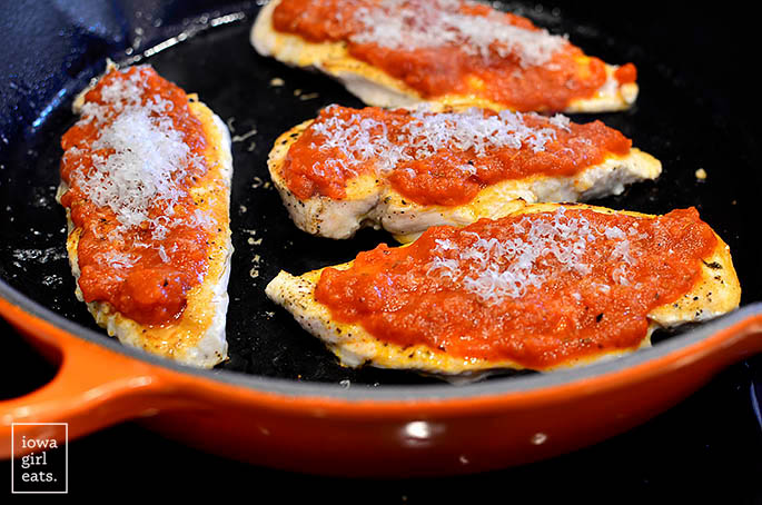 chicken cutlets topped with pizza sauce