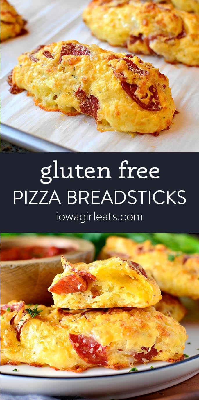 Photo collage of gluten free pizza breadsticks