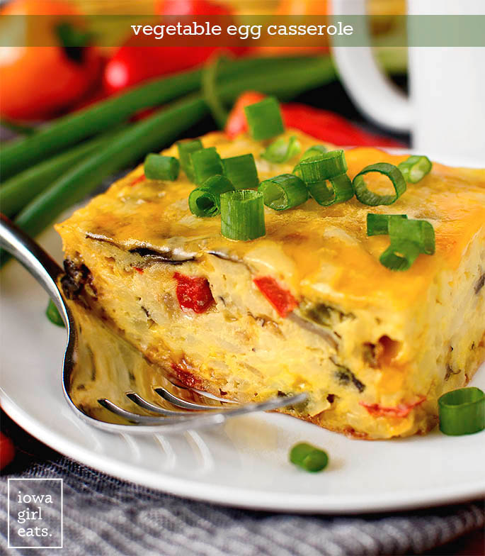 Piece of Vegetable Egg Casserole on a plate