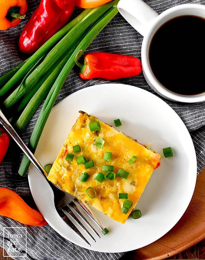 overhead photo of breakfast casserole on a plate