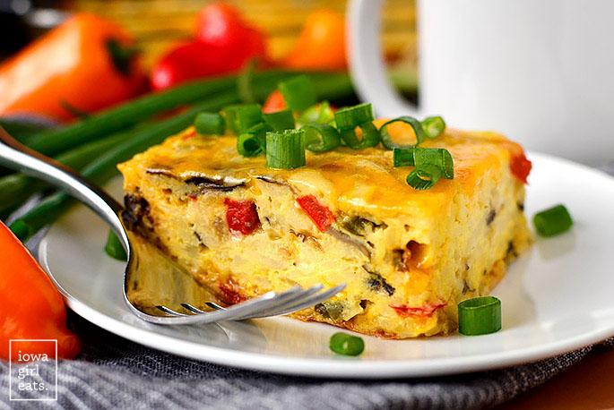Piece of breakfast casserole with a fork
