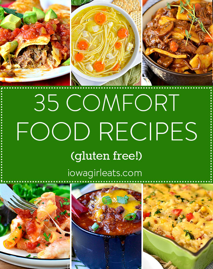 Photo collage of gluten free comfort food recipes