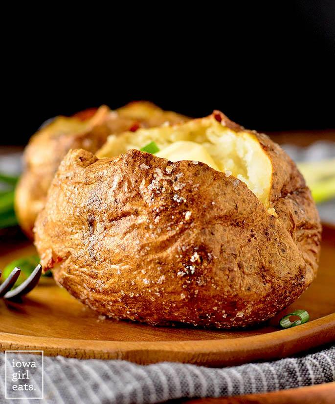 Crispy skin of a baked potato