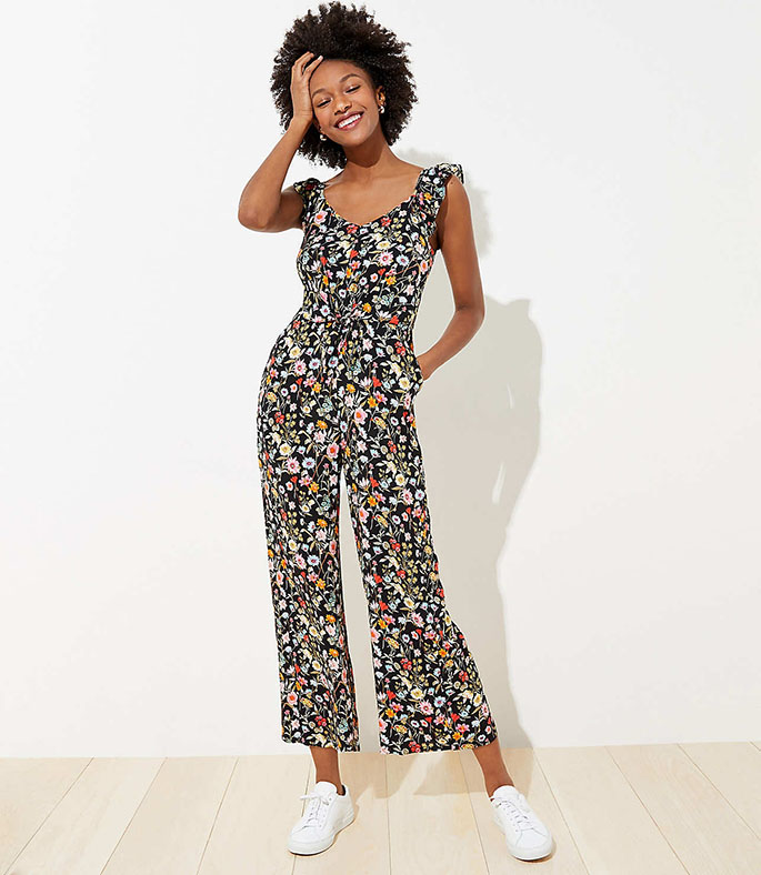 Floral jumpsuit on model