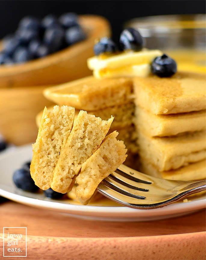 Forkful of gluten free pancakes