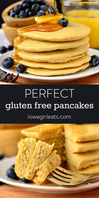 Photo collage of gluten free pancakes