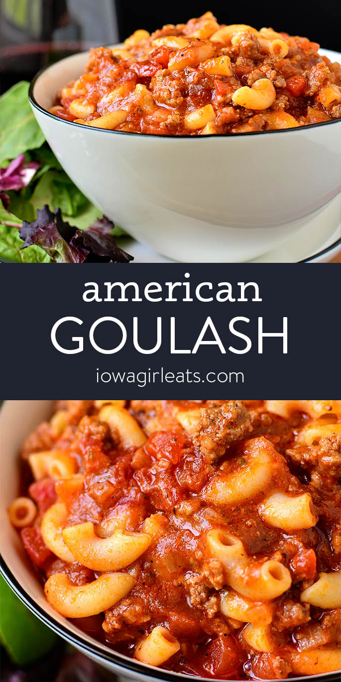 Photo collage of American style goulash