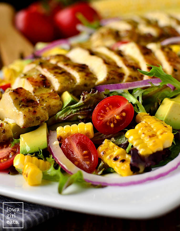 grilled corn on a chicken salad