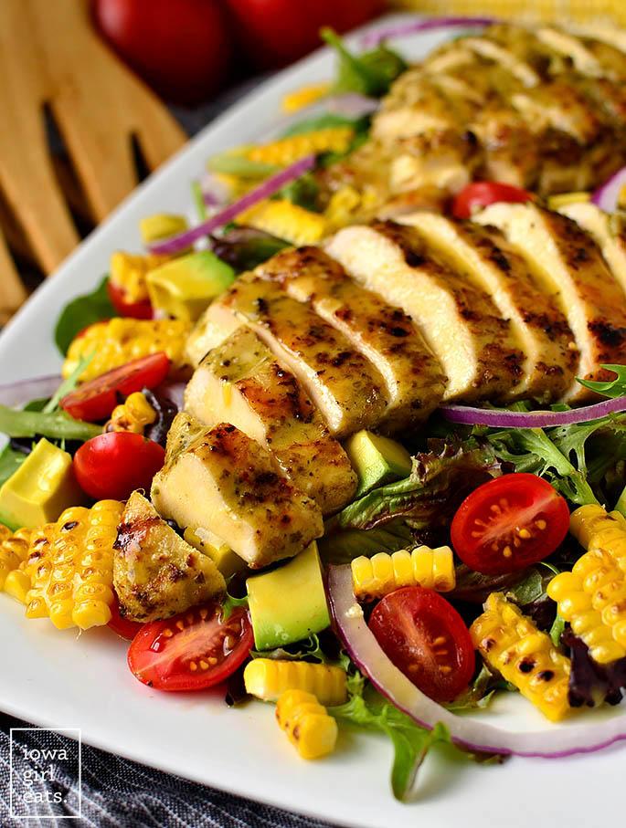 Fresh summer salad with grilled chicken