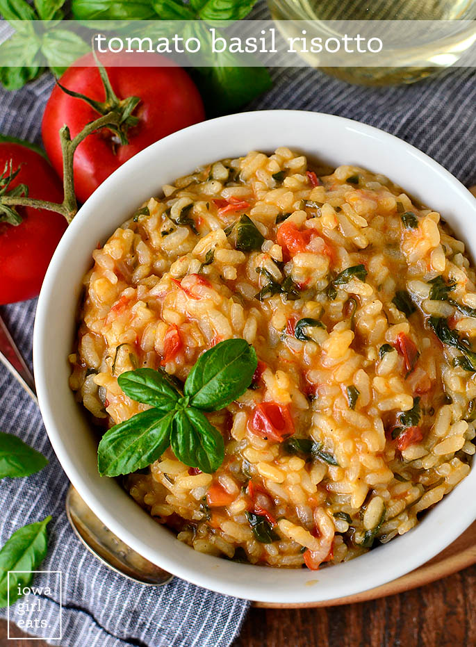 Overhead photo of bowl of tomato basil risotto