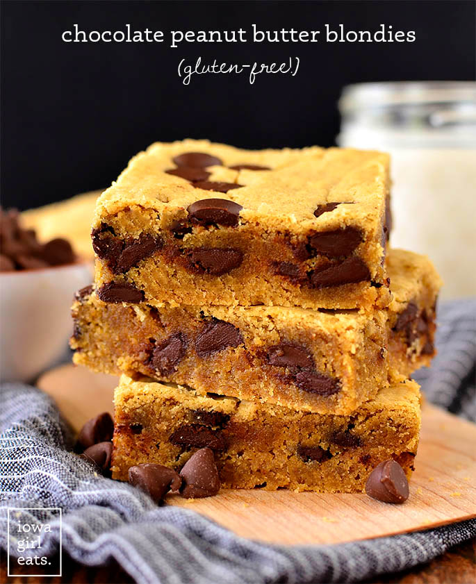 chocolate peanut butter blondies stacked on each other