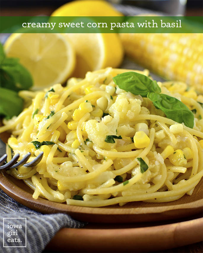 Plate of Creamy Sweet Corn Pasta with Basil