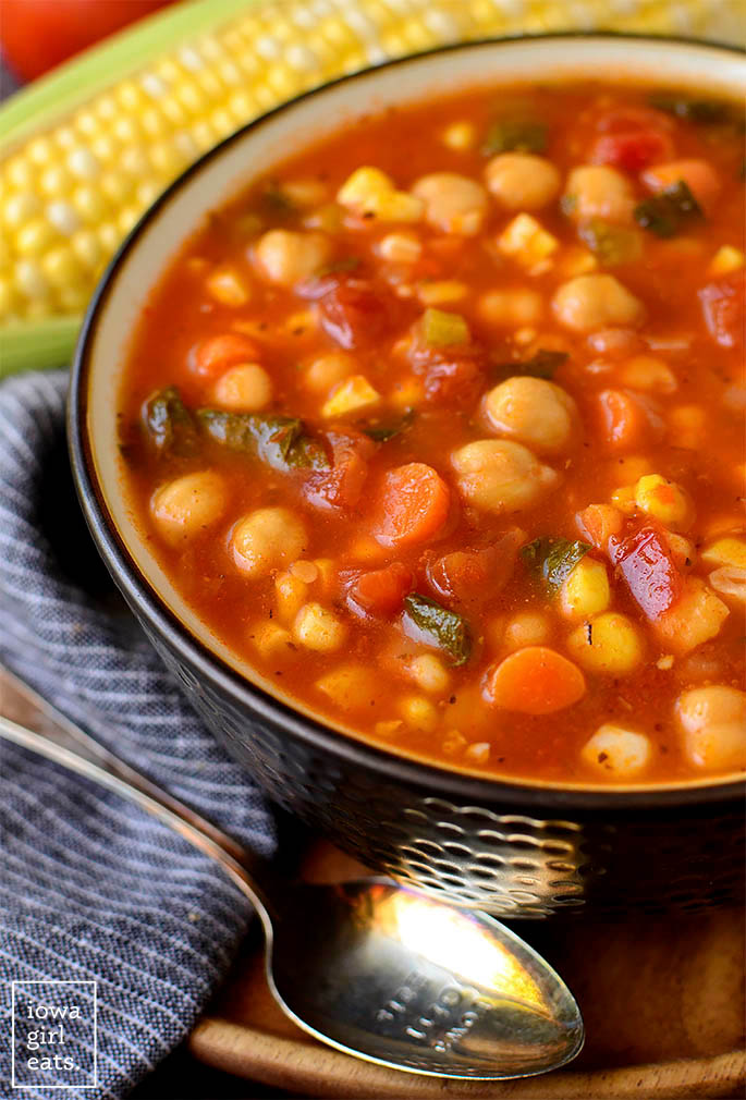 Close up photo of a bowl of summer chickpea stew