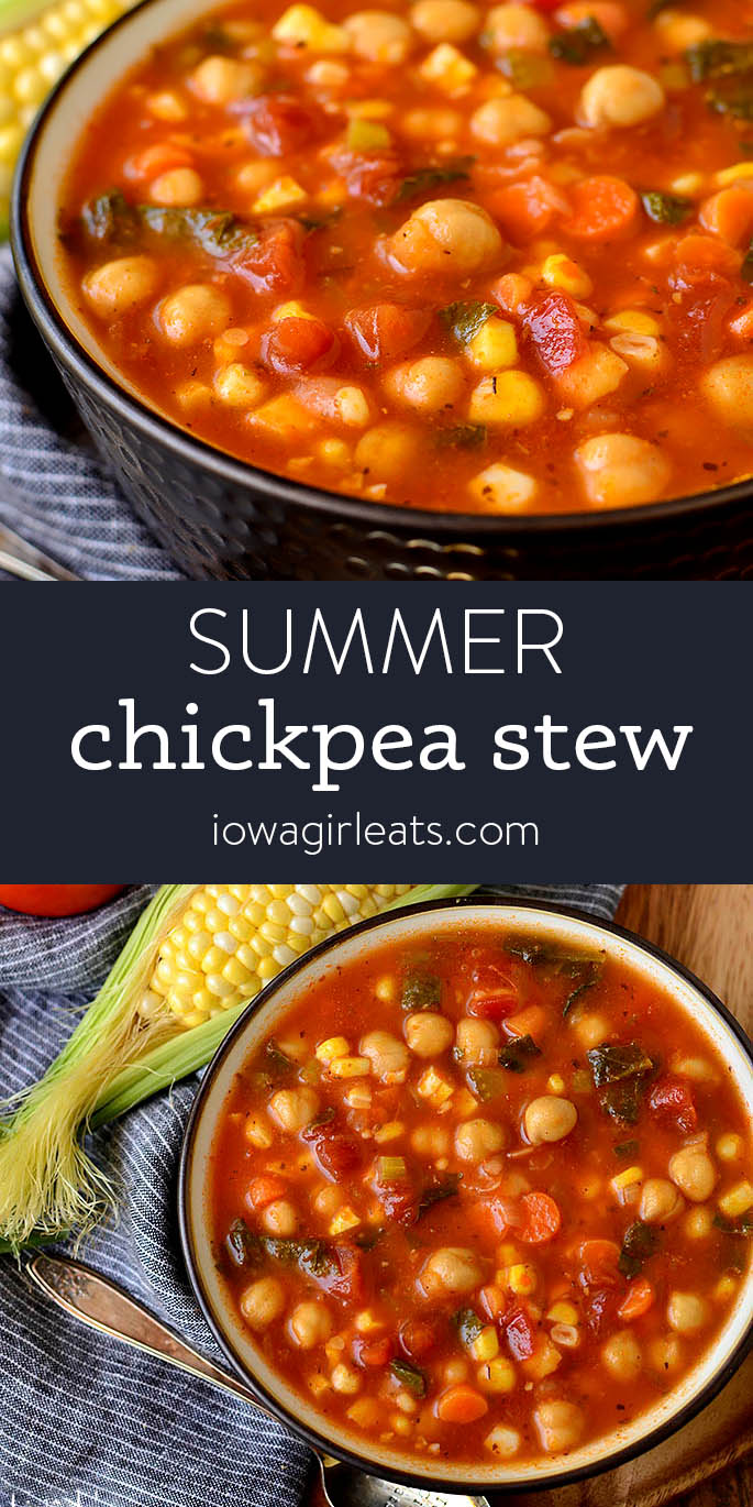 Photo collage of summer chickpea stew