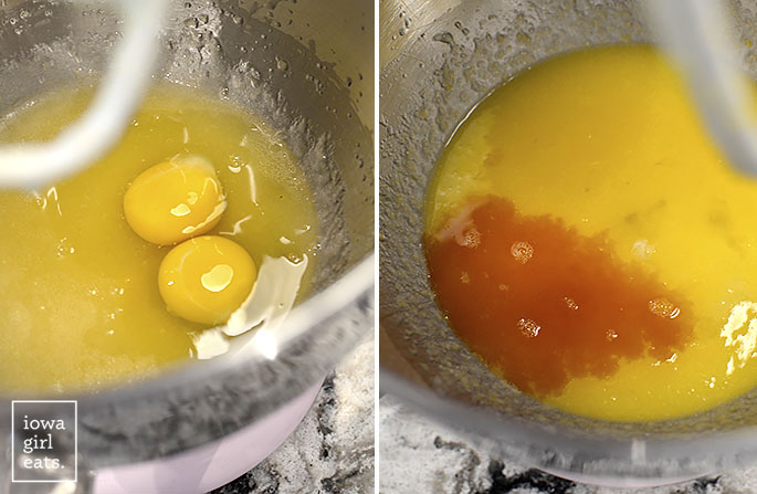 eggs sugar and vanilla being beaten in a stand mixer bowl
