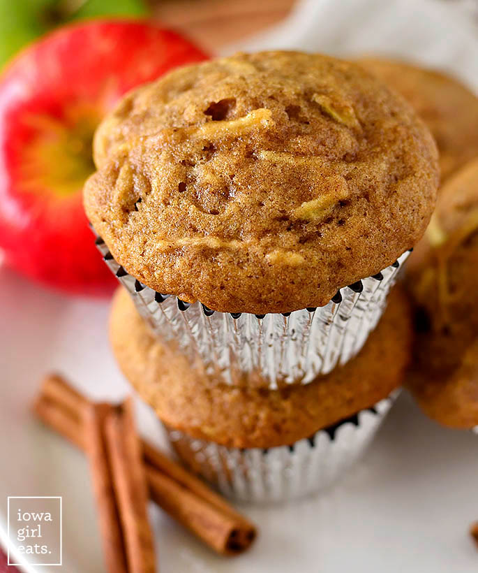 Gluten Free Apple Muffins stacked on top of each other