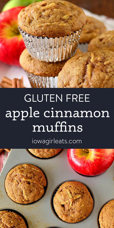 Photo collage of gluten free apple cinnamon muffins