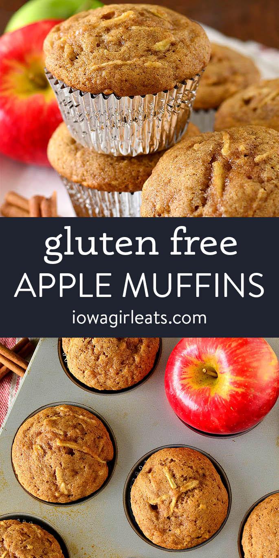 photo collage of gluten free apple muffins