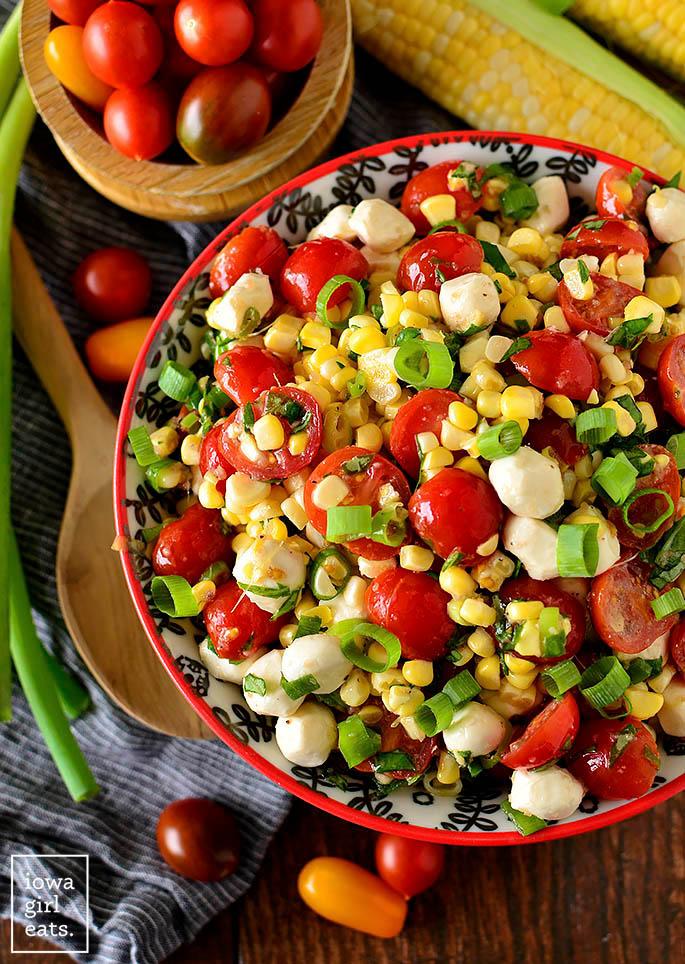 Overhead photo of a bowl of sweet corn salad