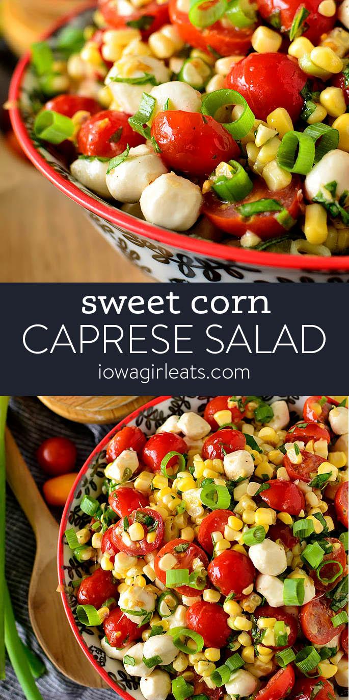 Photo collage of sweet corn caprese salad