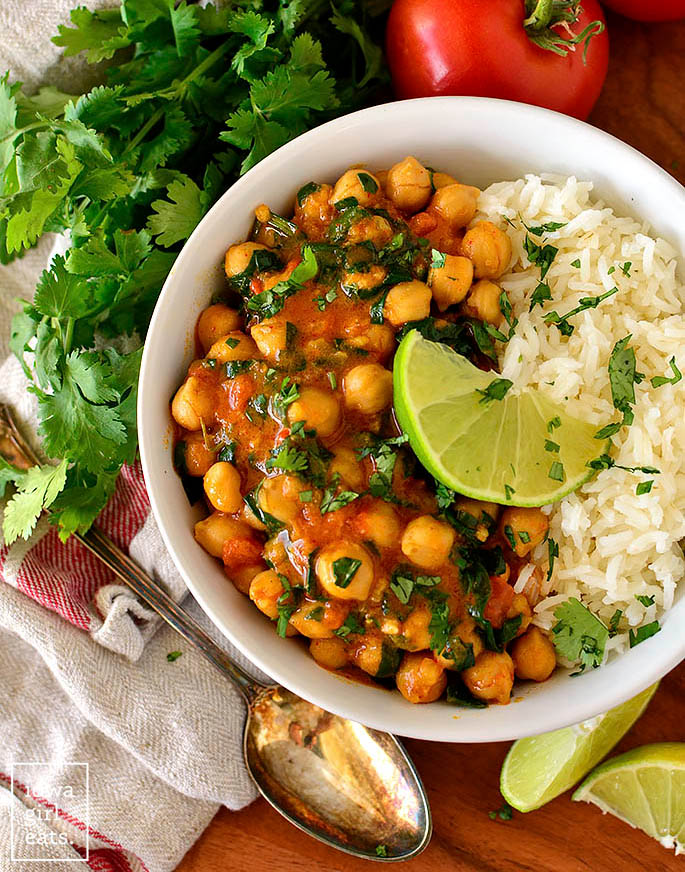 overhead photo of vegan chickpea curry in a bowl