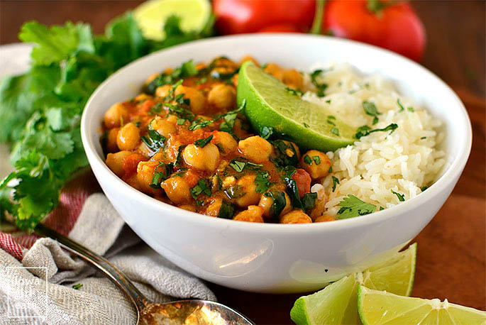 chickpea coconut curry served over rice
