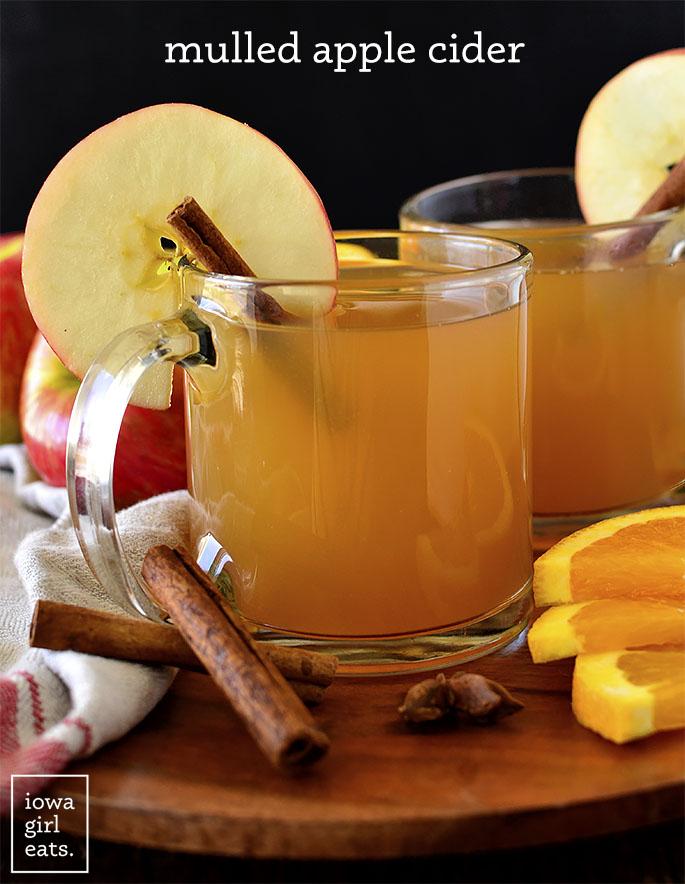 Mulled apple cider in glasses