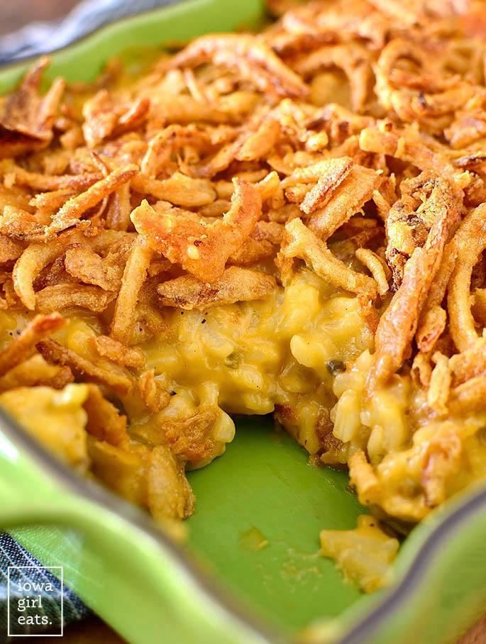 cheesy rice casserole in a baking dish