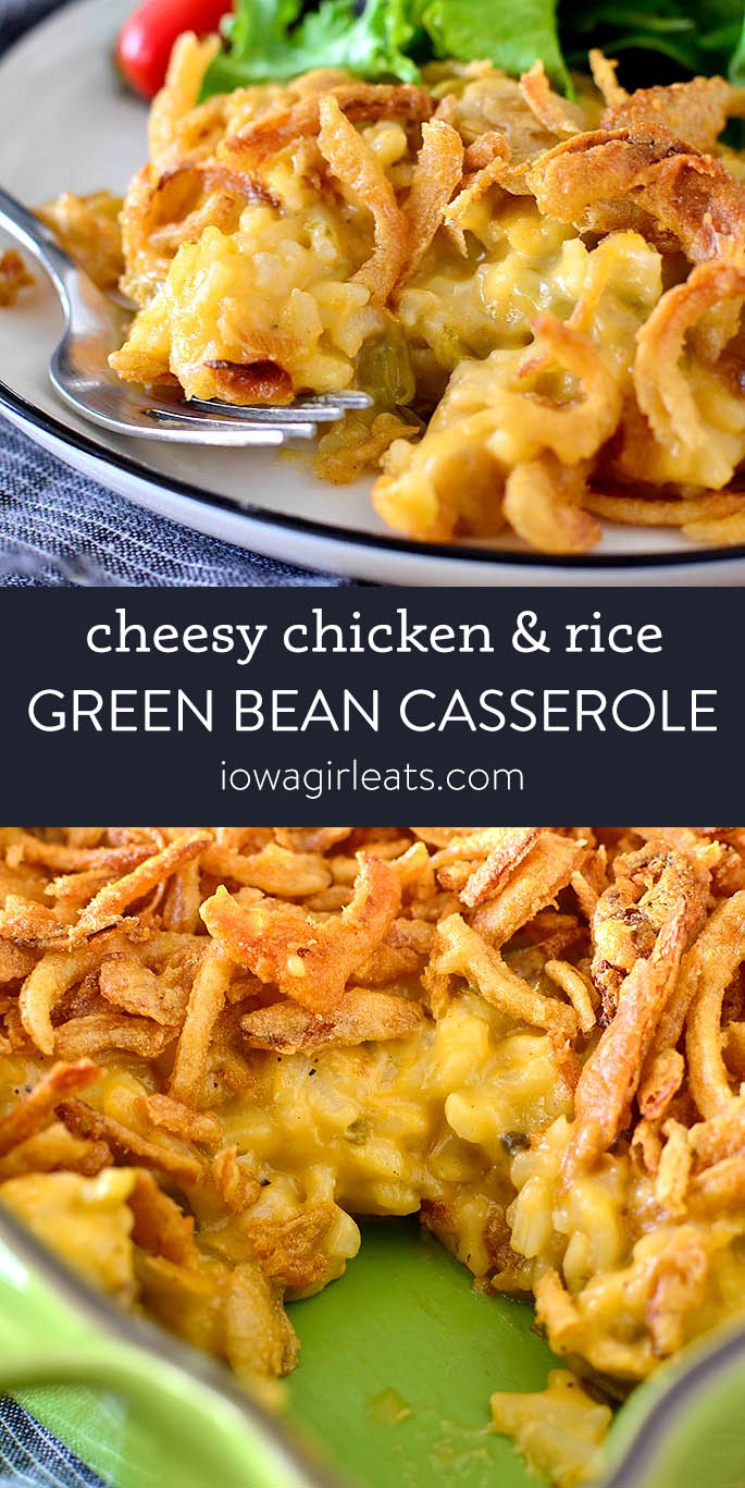 Photo collage of Cheesy Chicken and Rice Green Bean Casserole