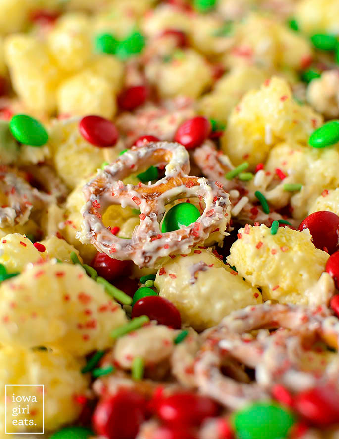 close up photo of christmas crunch on a baking sheet