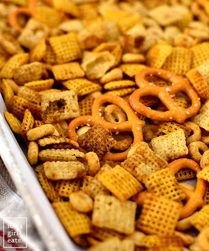 small batch chex mix on a baking sheet