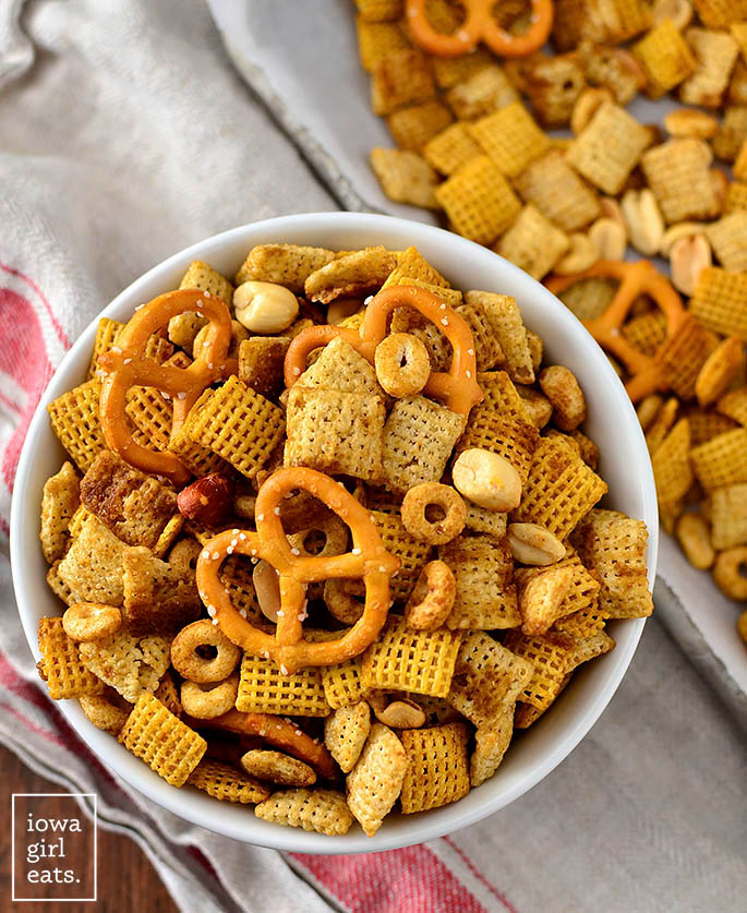 overhead photo of a bowl of small batch chex mix