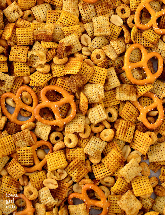 small batch chex mix spread out on a baking sheet