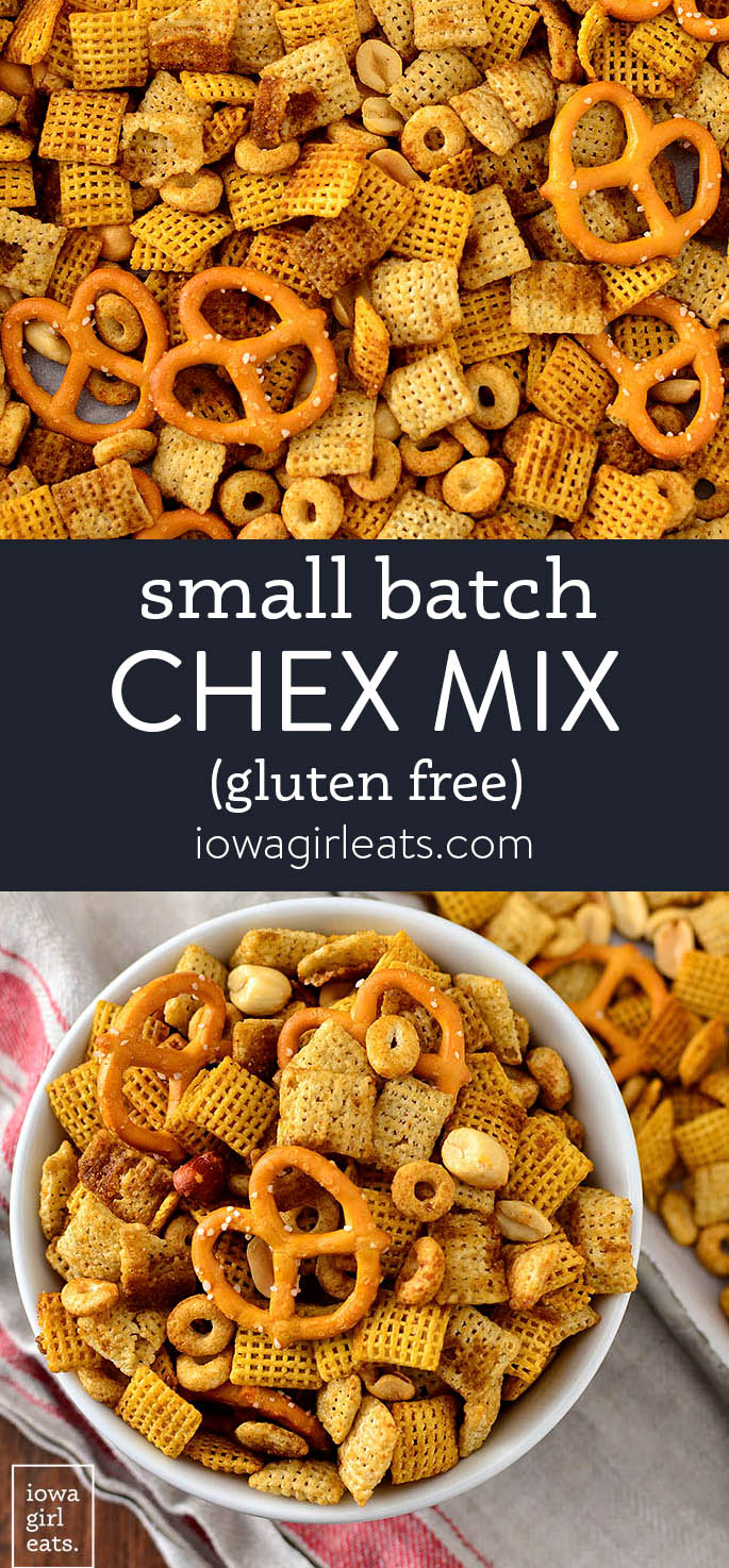 photo collage of small batch chex mix