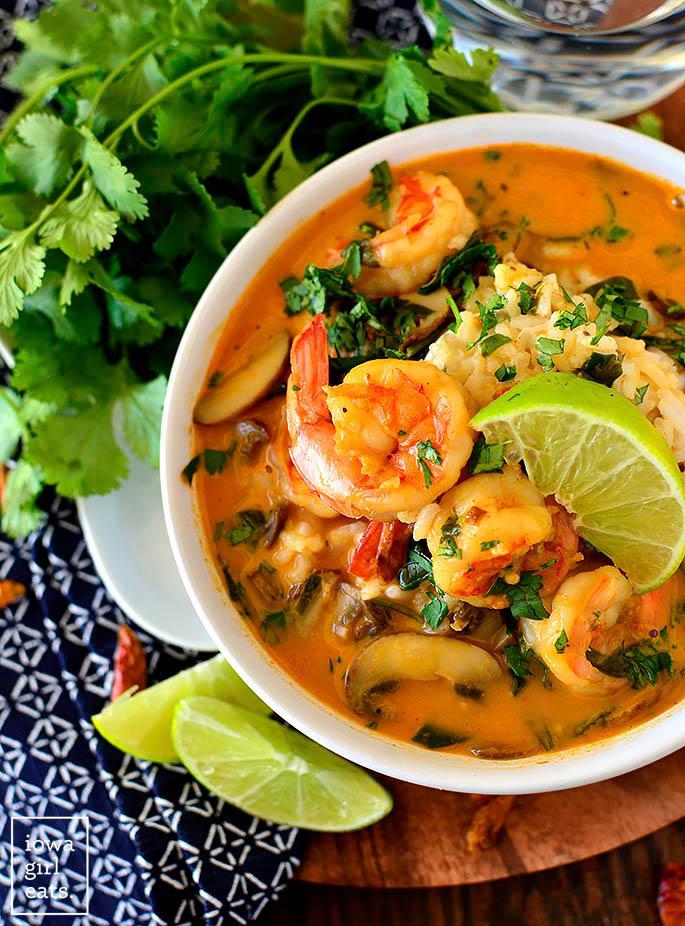 Overhead photo of a bowl of Thai Coconut Shrimp Soup