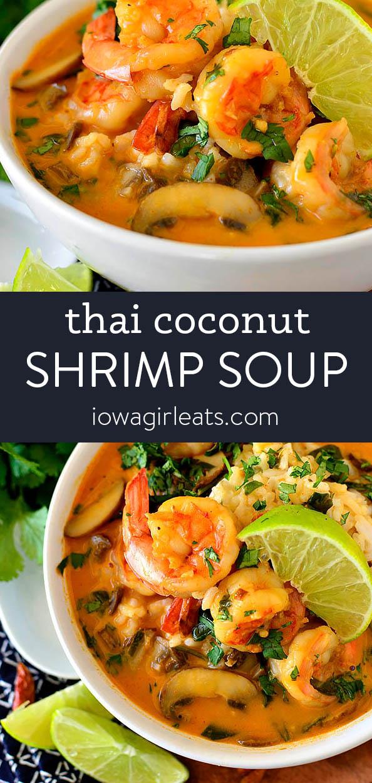 Photo collage of thai coconut shrimp soup