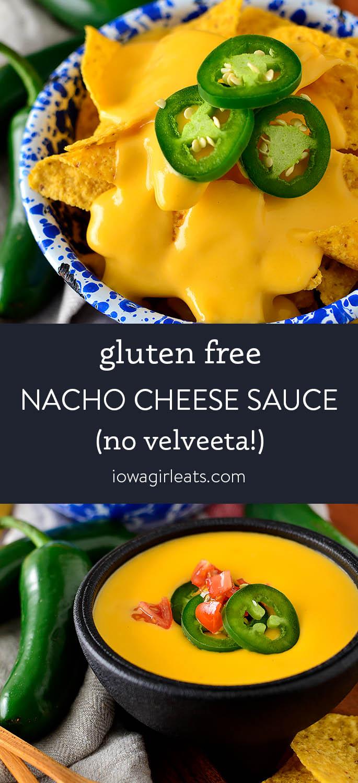 Photo collage of gluten free nacho cheese sauce