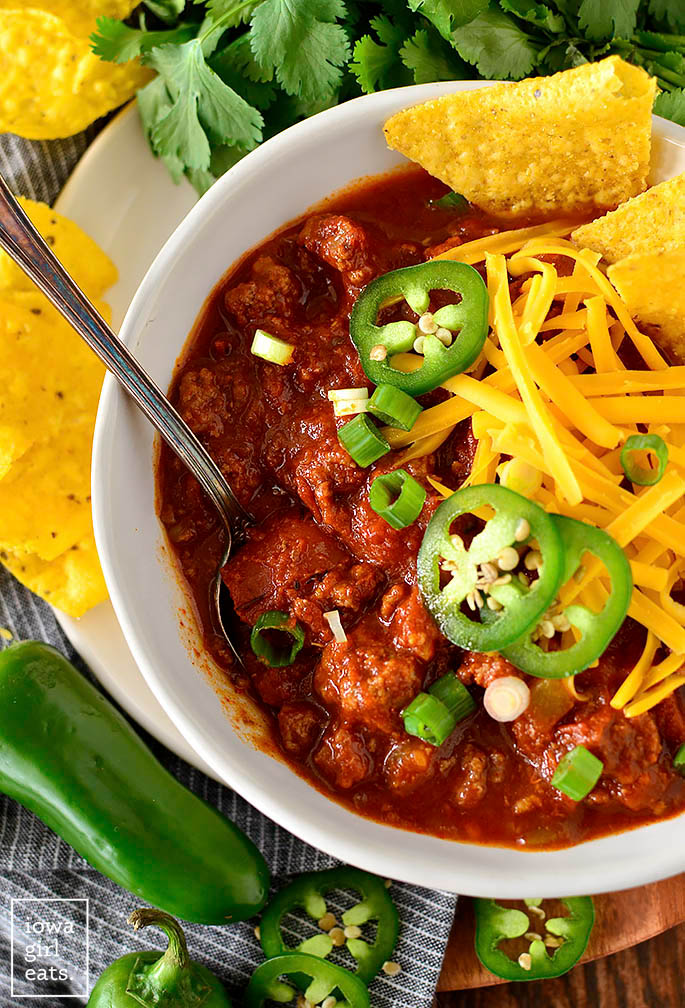 Bowl of chili recipe without beans with a spoon inside