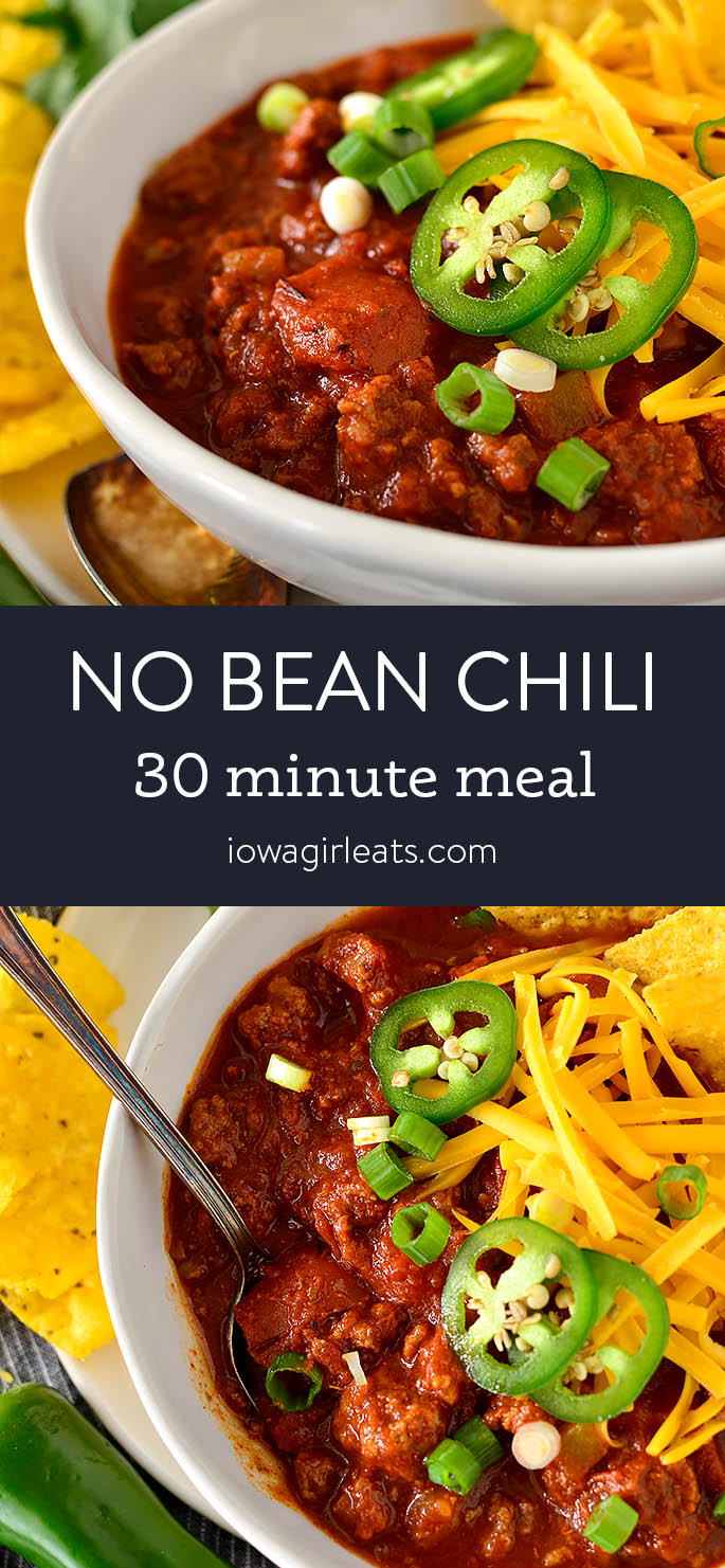 Photo collage of No bean Chili