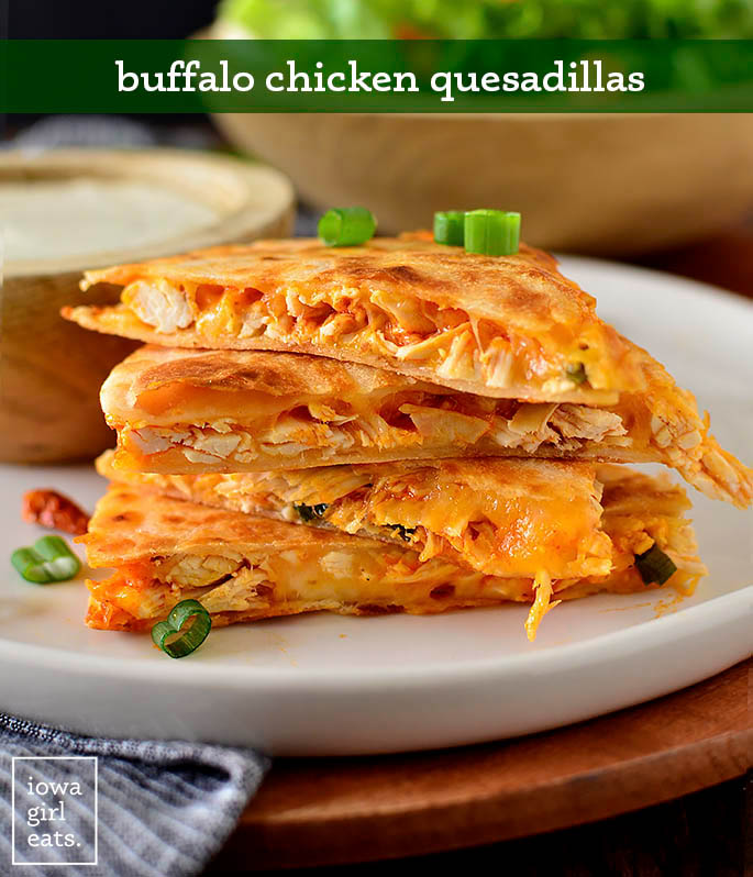 Stack of buffalo chicken quesadillas