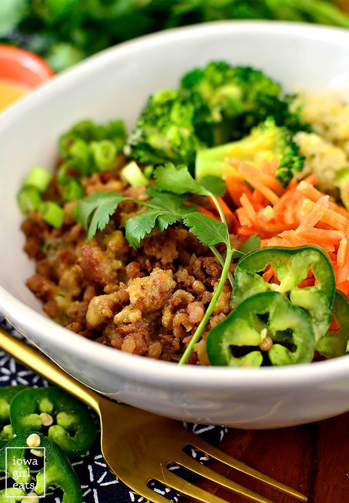 Fresh bowl of Vietnamese Style Caramelized Pork Bowls