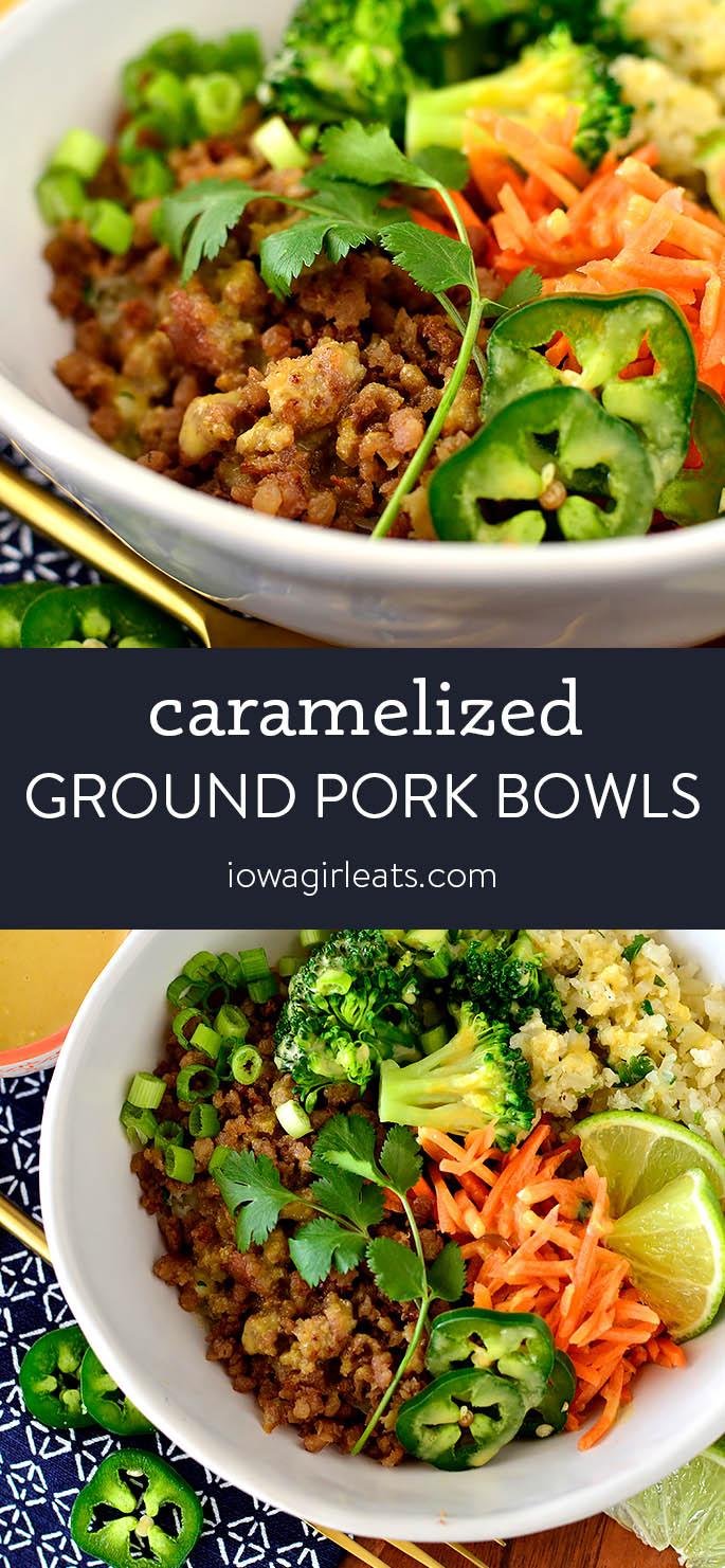 Photo collage of Vietnamese Style Ground Pork Bowls