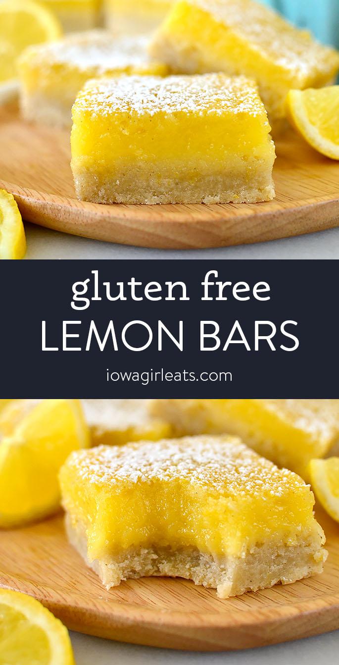 Photo collage of gluten free lemon bars