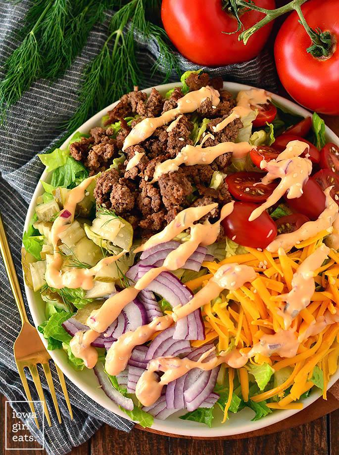overhead Photo of a big mac salad