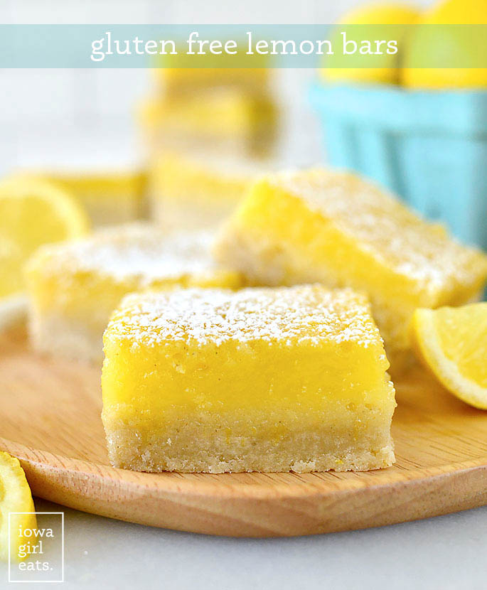 Close up photo of a gluten free lemon bar