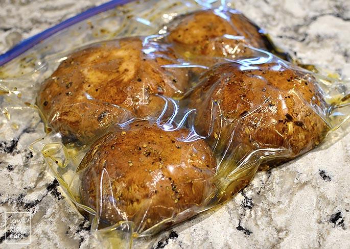 portobello mushrooms marinating in a bag