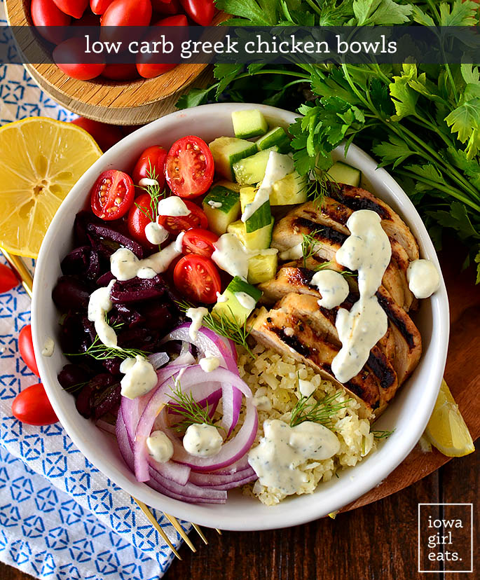 greek chicken bowls with fresh toppings