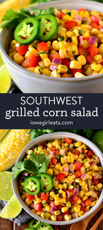 photo collage of southwest corn salad