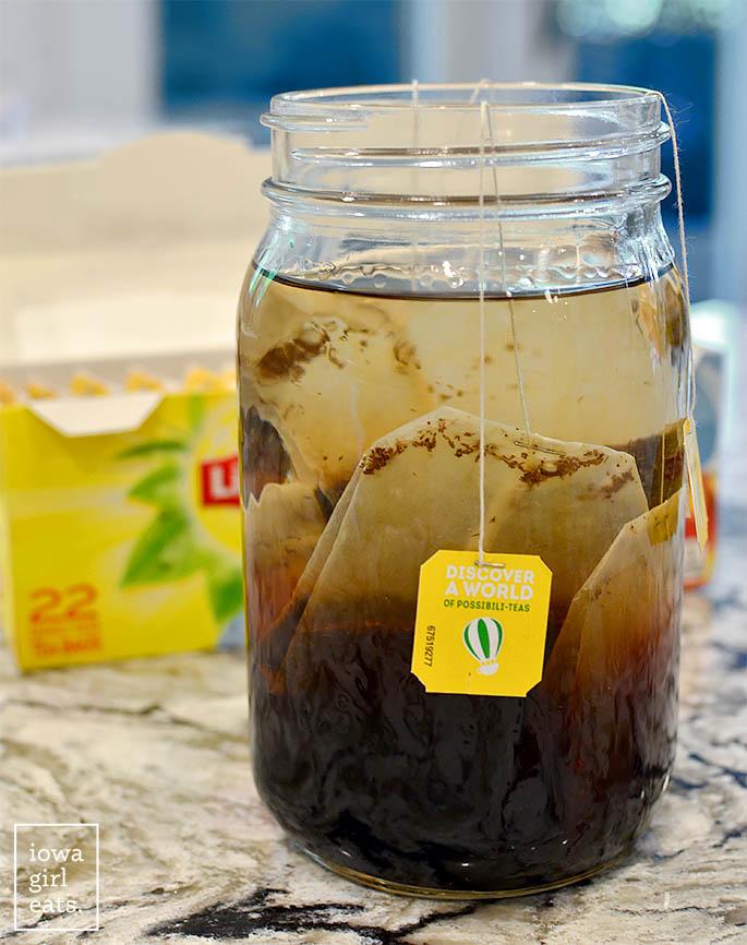 cold brew tea bags steeping in vodka